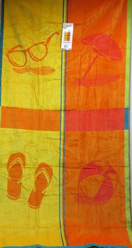 Strandtuch * 86 x 160 cm * Fb orange/gelb  ** Schirm, Ball, Brille ..