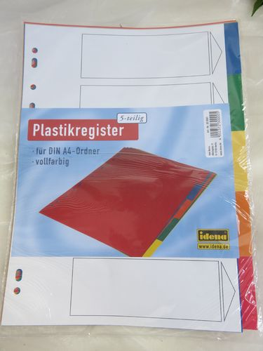 Idena * Register 5-teilig A4 * Plastik
