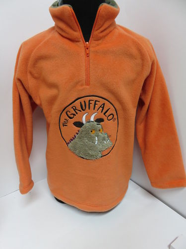 Grüffelo Fleece Pulli * Orange/Khaki * Pullover
