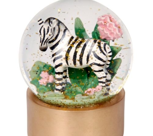 Glas Glitzerkugel Zebra - I love my Jungle